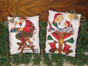 2 Country Christmas Santa Claus Shelf Sitters Bowl Fillers Handmade Home Decor