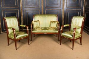 Elegante French Lounge Suite Set In The Empire Style Mahogany Veneer