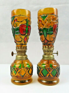 Rare Vintage Pair Of Stained Glass Oil Lamps Pop Art Deco Retro Modern D Cor