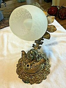 1 Of 2 Antique Wall Sconce Neo Classical Winged Putti Brass Electric 1 Arm Light