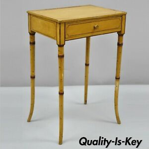 19th C Yellow English Victorian Faux Bamboo One Drawer Side End Table Nightstand