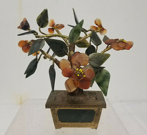 Antique Vintage Hong Kong Chinese Jade Tree Carnelian Brass Bronze Base