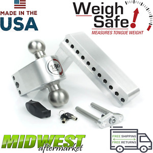Weigh Safe 180 Degree 8 Drop Hitch W Stainless Steel Ball Aluminum Hitch