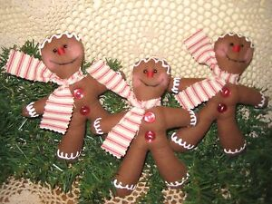 3 Gingerbread Fabric Ornaments Bowl Fillers Country Christmas Home Decor