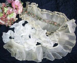 Antique Vintage Lot Of Pleated Ruched Lace Dress Trims Lengths Edgings Dolls