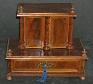 Antique Empire Tabletop Apothecary Cabinet Valuables Chest Medicine Lock Key