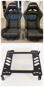 Bride Gias V1 Black Cloth Frp Shell Racing Pair Seats W 240sx Brackets S13 S14