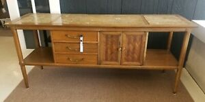 Mid Century Transitional Tomlinson Sophisticate Marble Inlaid Buffet Sideboard
