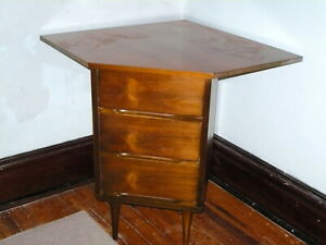 Vintage Mid Century Modern 3 Drawer Corner End Side Table Pair