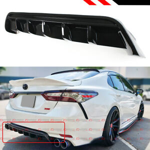 For 2018 2020 Toyota Camry Se Xse Gt Shark Fin Glossy Black Rear Bumper Diffuser