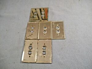 Vintage 6 Push Button Wall Switches Beveled Mirror 1 Double 5 Singles