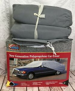 Medium Size Car Cover Polypropylene Water Dust Repellant Gray Double Stitched