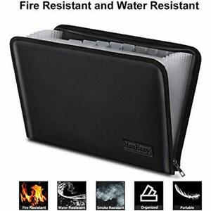 File Folder Document Organizer Pouch Fire Resistant Water Filing Accordion Bag