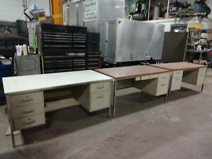 Metal Office Desk Lot Of 3
