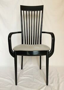 Ello Lot 2 Pietro Costantini Black Lacquer Chair Gray Cushion Vg Condition