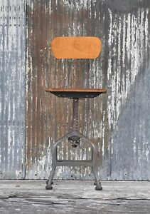 Vintage Industrial Toldeo Factory Drafting Stool