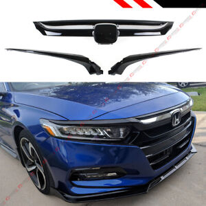 For 18 2020 10th Honda Accord Glossy Black Chrome Trim Sport Style Front Grille