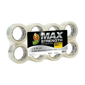 Duck Max Strength 1 88 In X 54 6 Yds Packing Tape Refill Clear 8 pack