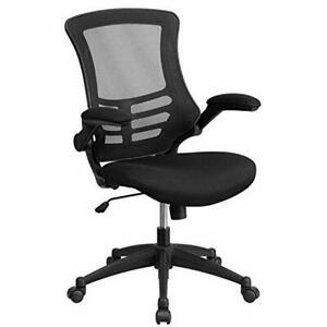 Mid back Black Mesh Swivel Aeron Chair With Mesh Padded Seat And Flip up Arms