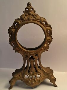 Antique Art Nouveau Victorian Cast Metal French Ornate Gold Clock Case 12 5