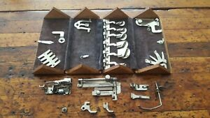 Vintage 1889 Singer Sewing Machine Oak Folding Puzzle Box Many Attachments