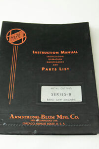 Marvel Series 8 Band Saw Operation Technical And Parts Manual