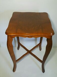 Vintage Square Tall End Table French Provincial Style Carved Wood