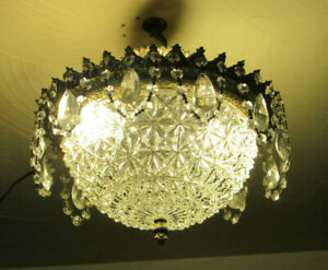 Vintage Crystal Prism Ceiling Fixture Light Chandelier Draping Prism Chains