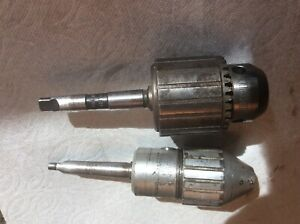 Atlas Craftsman 618 Drill Chucks One Is Keyed One Is Keyless Mt1 For Tailstoc