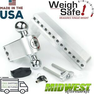 Weigh Safe 180 Degree 10 Drop Hitch W Chrome Plated Steel Ball 2 5 Shaft