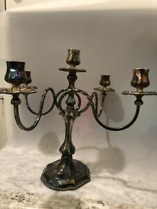 Weighted Vintage Pairpoint Quadruple Plated Silver Candelabra Candle Holder 6138