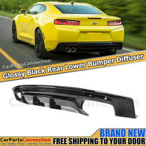 Rear Bumper Diffuser For Camaro 16 18 Vortex Generator Quad Exhaust Glossy Black