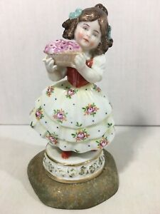 Antique Capodimonte Porcelain Figurine Statue Signed Girl Floral Italy