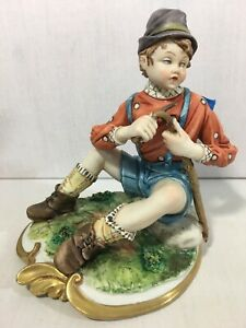 Capodimonte Volta Porcelain Figurine Statue Boy Wood Carving