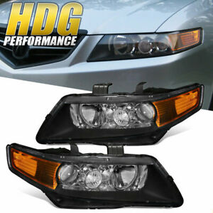 Black Housing Amber Reflector Headlight Head Lamp For 2004 2008 Acura Tsx Cl9