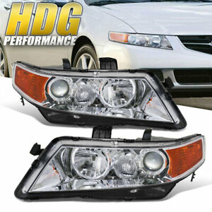 Chrome Housing Amber Reflector Headlight Head Lamp For 2004 2008 Acura Tsx Cl9