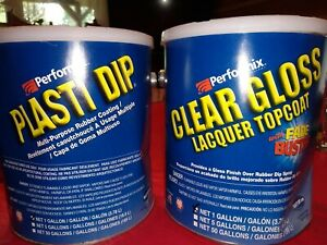 Plasti Dip 10104 Blue Full Strength And Clear Gloss Topcoat Ready To Spray