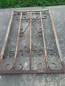 Antique Architectural Salvage Wrought Iron Gate Insert Window Grate