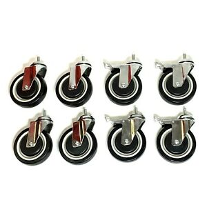8 Qty Plate 5 Casters Polyurethane Wheels All Swivel With Brakes