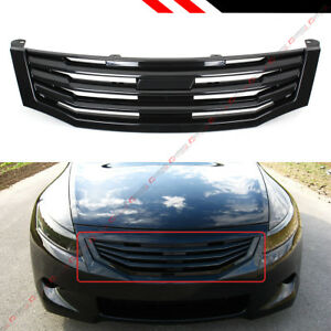 For 2008 10 8th Gen Honda Accord 4dr Sedan Glossy Black Horizontal Front Grille