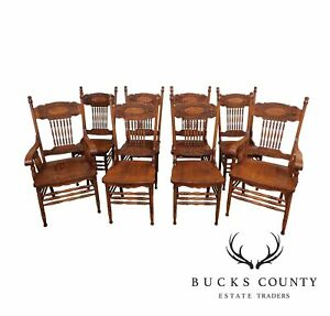 Victorian Style Set Of 8 Oak Pressed Back Dining Chairs
