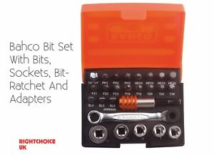 Bahco Bit Set With Bits Sockets Bit ratchet And Adapters