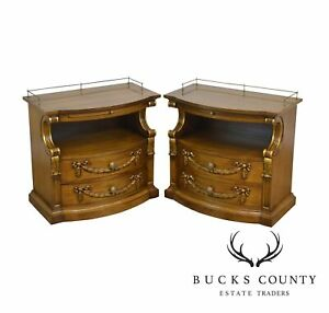 Karges Vintage French Louis Xv Style Walnut Pair Nightstands