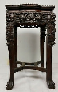 Antique Chinese Marble Topped Carved Hardwood Wood Stand Hongmu Rosewood