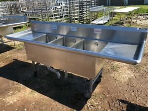Amtekco Stainless Steel 93 5 Heavy Duty 3 Compartment Wash Sink No Holes faucet