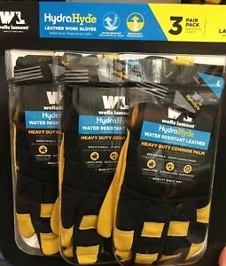 Wells Lamont Weather Resistant Hydrahyde Leather Work Gloves Large Black 3pk New