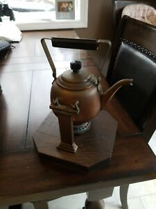 Antique Arts And Crafts Copper Teapot Kettle With Warming Stand Circa 1890 S