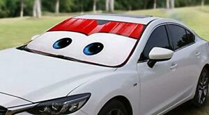 Car Windshield Sunshade With Cartoon Rayo Mc Queen Eyes Front Accesory Red