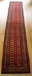 Fine Bokhara Hand Knotted Wool Runner Pakistan Oriental Rug Cleaned 2 7 X14 9