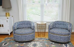 Pair Of Mid Century Baughman Style Swivel Chairs Reupholstered In Sunbrella